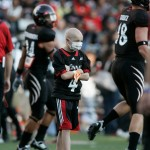 "Mitch on the field at the first ""Playdate with the Bearcats"""